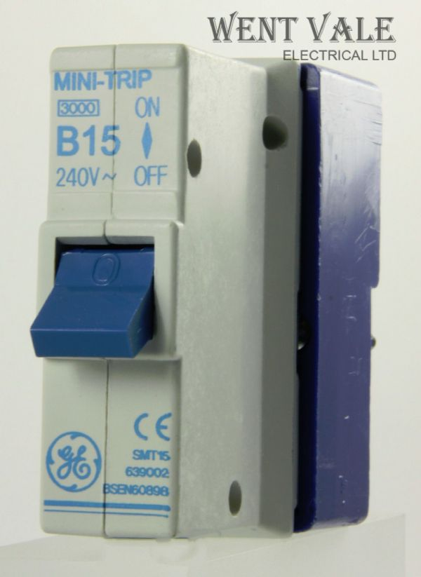 GE Mini Trip - SMT15 639002 - 15a Type B Plug-in Single Pole MCB and Base New